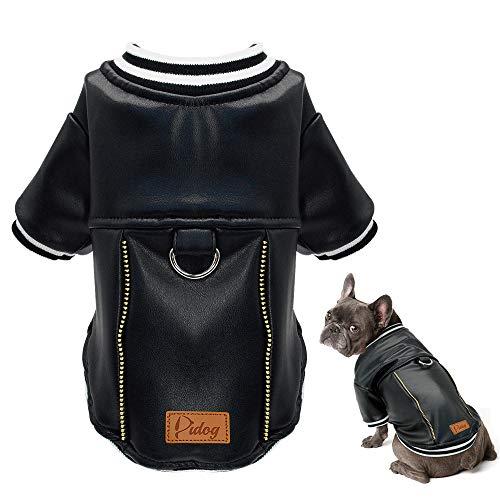 Didog Puppy Dog Leather Jacket-Christmas Costumes, Waterproof Dog Motorcycle Leather Coat, Cold Weather Baseball Jacket Fit Yorkshire,Boston ()