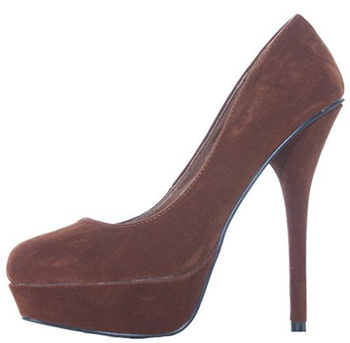 Women Platform High Heels Ladies Brown Suede Pumps Court Shoes Size 3 4 5 6 7 8 xfiWm3