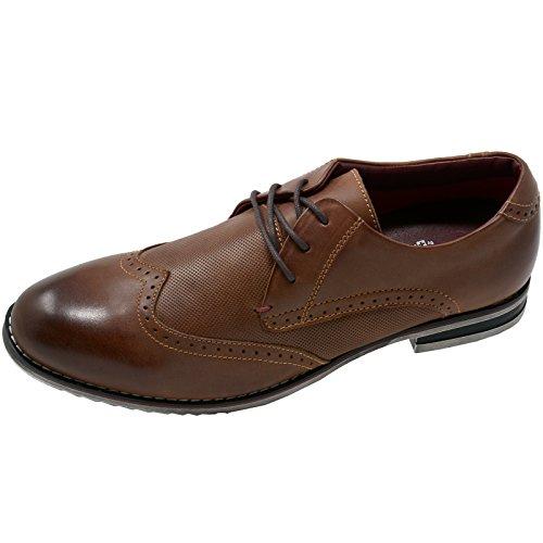 Suizo Alpino Doble Diamante Por Hombre Oxfords Cuero Genuino Wingtip Vestido Zapatos Marrón
