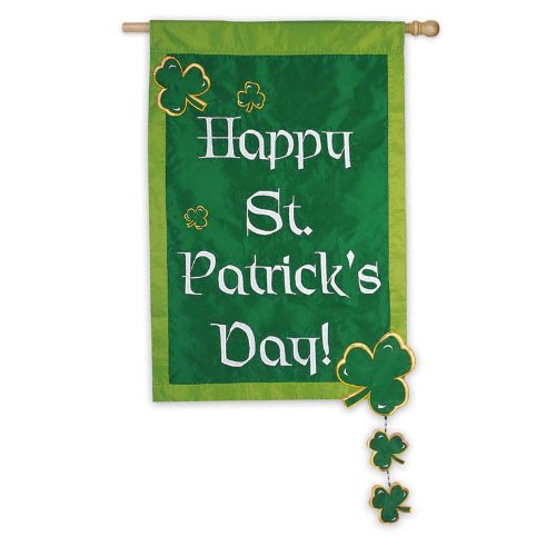 St. Patrick's Day With Spinning Clovers Regular Size Applique Flag