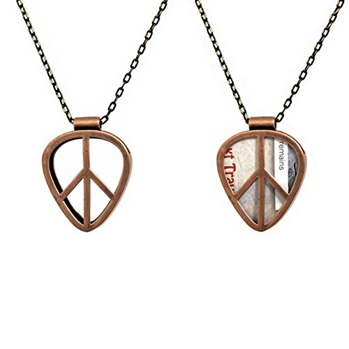 [PICKRING] Guitar Pick Holder Pendant Necklace Jazz Size (Peace/Antique)