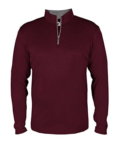 Maroon Adult 3XL Long Sleeve 1/4 Zip Pullover Wicking Sports Windbreaker Jacket