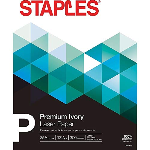 - Staples 25% Cotton Fine Laser Paper. Ivory