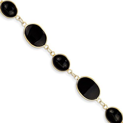 (14k Yellow Gold 8 Inch Black Onyx Bracelet Gemstone Fine Jewelry For Women Gift Set)