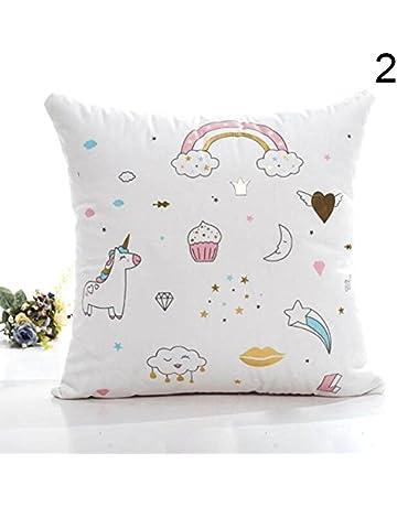 Hongch Cojín de unicornio de dibujos animados Funda de almohada Habitación con sofá cama Arrojar la