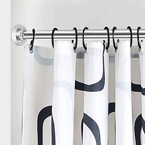 JimmLoo Shower Curtain Rod - 47-92 Inches Shower Rod Non-Slip Tension Curtain Rod No Drilling Stainless Steel Tension Rod for Shower Curtain Never Collapse