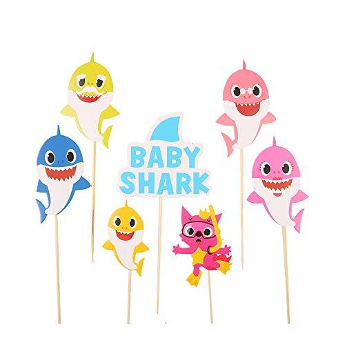 y cake topper Shark cake flag banner birthday party cake ornament ()
