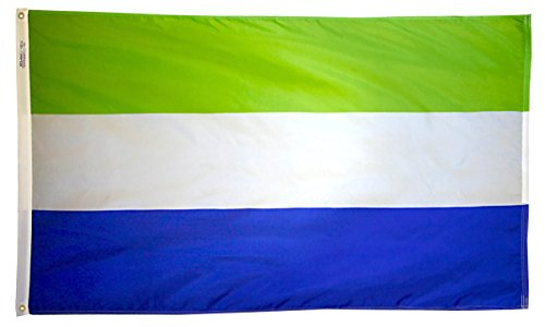 Sierra Leone Flag 3x5 ft. Nylon SolarGuard Nyl-Glo 100% Made in USA to Official United Nations Design Specifications by Annin Flagmakers.  Model 197322 (Model Sierra)