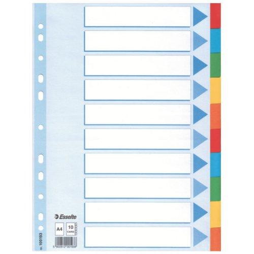 Esselte Karton-Register, blanko, A4, 10-teilig, mehrfarbig