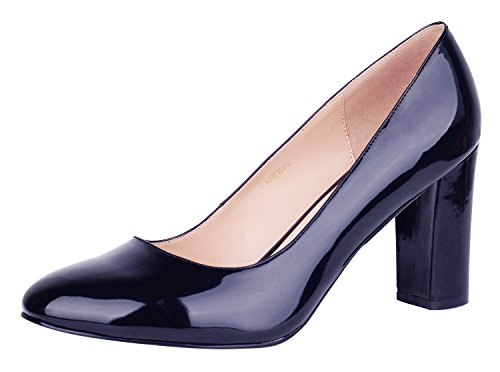 Toe Pointed Thick B Dress Simple Heel Verocara Office Women's Party Pumps Silhouette Navy High for and UqwxBIX