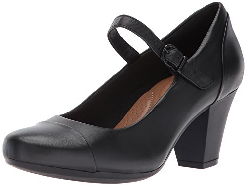 Clarks Women's Garnit Tianna Dress Pump, Black Leather, 8.5 W US