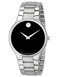 Movado Men's 0606382 Serio Stainless-Steel Black Round Dial Watch