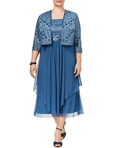 R & M Richards Plus Size Tiered A-Line Dress And Jacket