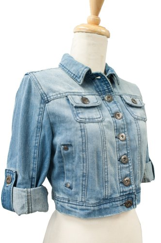 Ci Sono By Cavalini Womens Cropped Denim Jacket Small Light wash ...