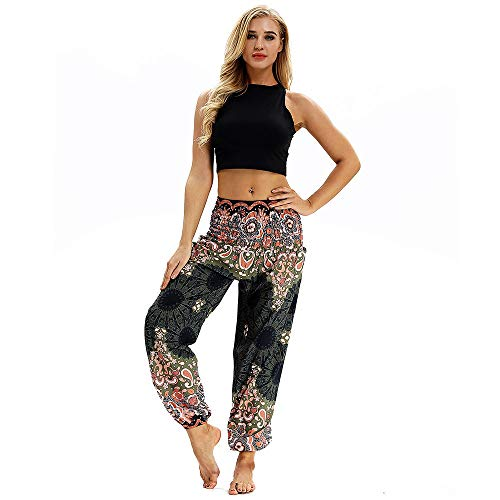 Pants Trousers Loose Men Harem Print Women Casual Trousers Boho Black1 Hippy Yoga Xmiral Polyester Pants Baggy a6BFw