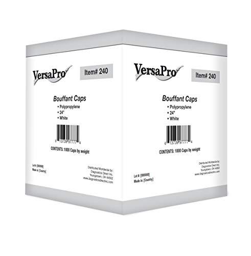 VersaPro Nurse/Bouffant Cap (Hairnets), White, Box of 100 Pieces - 24