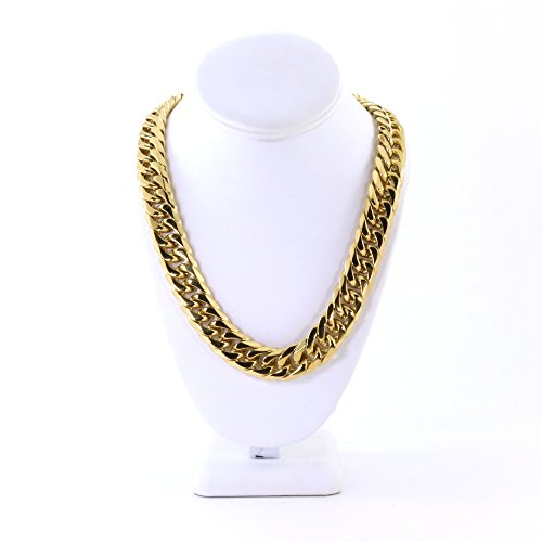 24' Cuban Link Chain (Solid 14k Yellow Gold Finish Stainless Steel 18.5mm Thick Miami Cuban Link Chain 24'' Long)