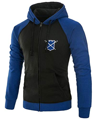 Generic Mens Premium Jacket Heavyweight Two-Tone Raglan Pullover Hoodie Sweatshirts Dark Blue L