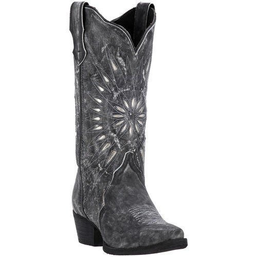 Laredo Womens Black Starburst Leather Cowboy Boots 12in Cutout 10 M by Laredo