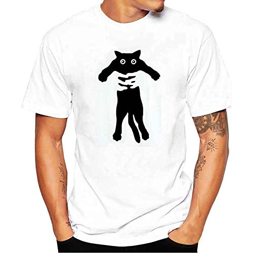 Realdo Men's Solid Casual T-Shirt, Fashion Short Sleeve Crewneck Cat Print Top Tee (Small, White1)