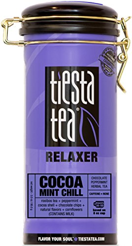 Tiesta Tea Cocoa Mint Chill, Chocolate Peppermint Herbal Tea, 50 Servings, 3 Ounce Tin - Caffeine Free, Loose Leaf Herbal Tea, Relaxer Blend, Non-GMO - Tin Gypsy Zhena