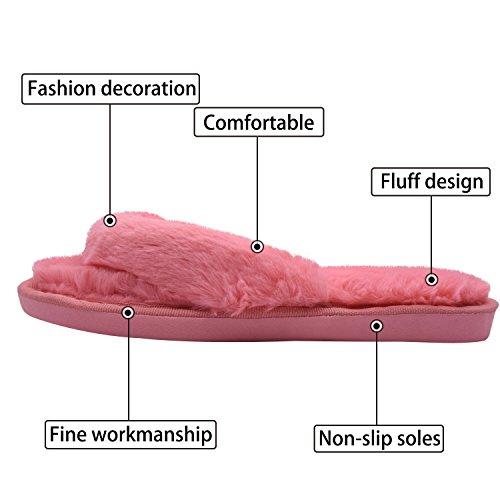 de coton l'automne chaud lit en en Mesdames chaussures tongs pour élégant pantoufle anti MStar couleurs pantoufle Rouge dérapant peluche fourrure hiver 4 qwXntvwax