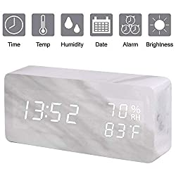 Digital Alarm Clock, Wood LED Adjustable Brightness Voice Control Desk Wooden Alarm Clock with Day/ Date/Temperature and Humidity USB/Battery Powered,  for Back to School, Home, Office, Kids (White)
