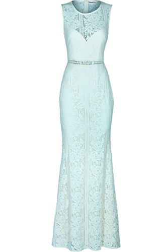 Absolute Rosy Women's Sleeveless Lace Prom Bridesmaid Maxi Evening Dress Mint ()