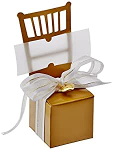 Kate Aspen Miniature Gold Chair Favor Box with Heart Charm and Ribbon, Set of 12