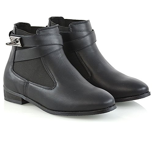 Leather Womens Pull Black Boots Glam Synthetic Ankle Ladies On Essex Elastic Chelsea Boots 75HUgq