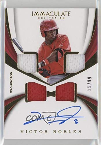 Victor Robles #55/99 (Baseball Card) 2018 Panini Immaculate Collection - Rookie Quad Materials Autographs #RQM-VR