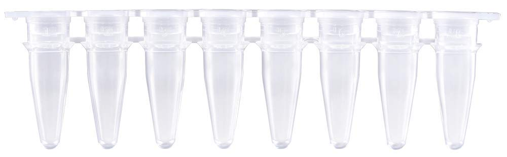 0.2ml PCR 8-Strip Tubes with Separate Flat Strip Caps (Included), 120 Strips/pk by Bioland