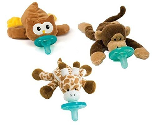 WubbaNub Infant Pacifier 3-Pack - People's Choice Giraffe, Monkey, Brown Puppy
