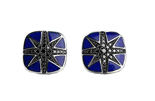 Black Lapis Cufflinks - DAVID YURMAN NORTH STAR BLACK DIAMONDS LAPIS CUSHION CUFFLINKS SILVER 4C