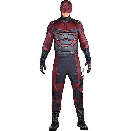 SUIT YOURSELF Daredevil Costume for Men, Standard Size, Includes a Jumpsuit, a Half Mask, Gloves, and 2 Plastic Batons -