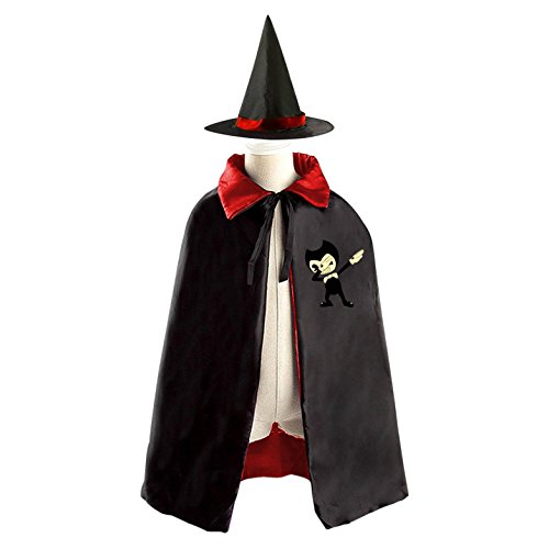 Dabbing Bendy Dab Children Kids Halloween Cape Cosplay Party Costume Cloak Cape Witch Hat