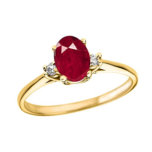 Fine 14k Yellow Gold Diamond with Genuine Ruby Engagement/Promise Ring (Size 6)