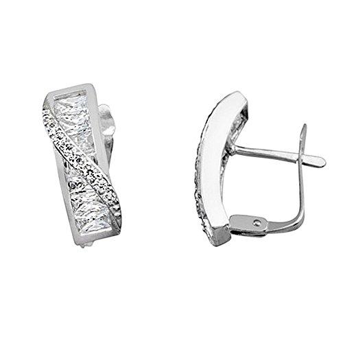 Boucled'oreille 18k blanc bande d'or zircons croisées allongées [AA6287]