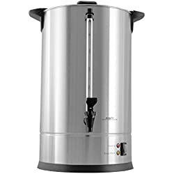 Cafe Amoroso 100 Cup Stainless Steel Coffee Urn - Premium Commercial Double Wall Design - Perfect For Catering, Churches, Banquets, Restaurants - 1 Year Warranty