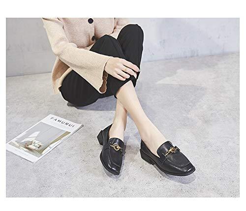 Tête Avec À Épaisses Carrée Basse Simples Sauvages Femmes Noir Chaussures Des Mocassins Pois Un4fxdSnw