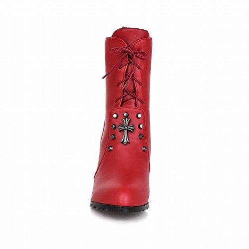 Carolbar Mujeres Lace Up Moda Tachonado En Forma De Cruz Decoraciones Encantos Mediados De Tacón Botas Cortas Rojo