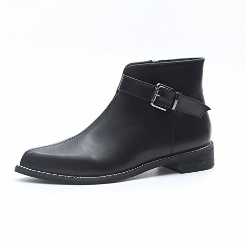 Martin Boots Women's England Flat-Bottomed Chelsea Boots with Boots and Bare Boots , black , EUR37