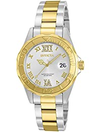 Women's 12852 Pro Diver Gold Dial Two Tone Watch with Crystal Accents
