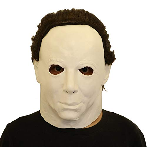 Likero Cosplay Michael Myers Mask Melting Face Overhead Latex Costume Halloween Scary Mask Spoof Mask Tricky Game Toy ()