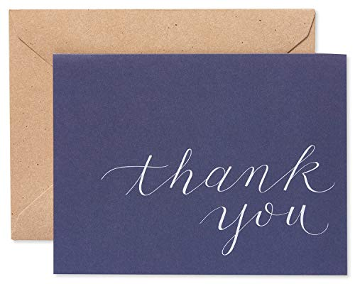 American Greetings Navy Blue Thank-You Cards and Brown Kraft-Style Envelopes, 50-Count (Boys Thank You Cards)