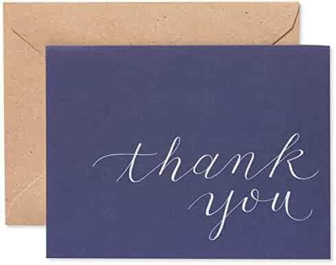 American Greetings Thank You Cards, Navy Blue with Brown Kraft-Style Envelopes (50-Count)