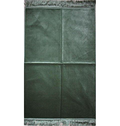 Velvet Islamic Muslim Prayer Rug - Janamaz Sajjadah Simple Solid (Mint Green)
