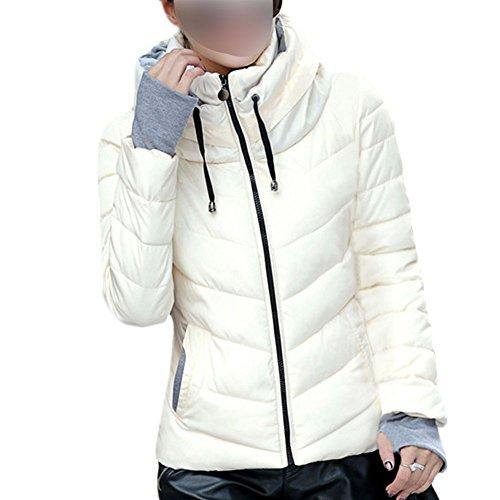 Soporte Down Chaquetas Collar Casual Coats del Mujeres Packable Blanco Puffer Hzjundasi Ligero Outwear YH0nwxnF