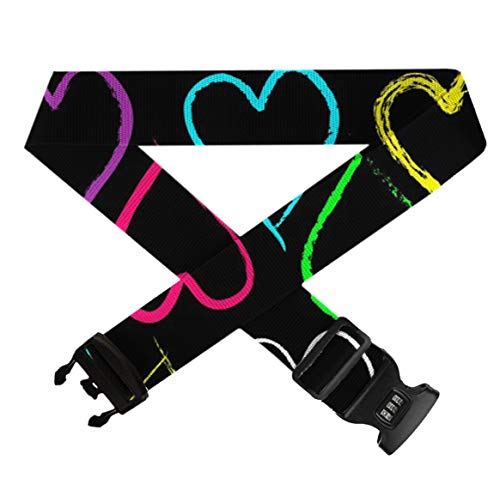 Heavy Duty Baggage Suitcase Straps Belts Travel Suitcase Belt With 3-Dial Lock - Free Neon Heart, Adjustable Length Elastic Suitcase Straps Quick-Release Buckle ()