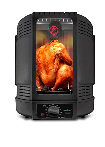 Black Metal Reduces Fat Spinning-Style Cooking Vertical Countertop Rotisserie Rotating Oven, Dimensions 10.2HX9.1D